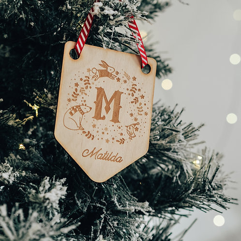 Initial and Name Winter Wreath Flag Shaped Christmas Tree Decoration