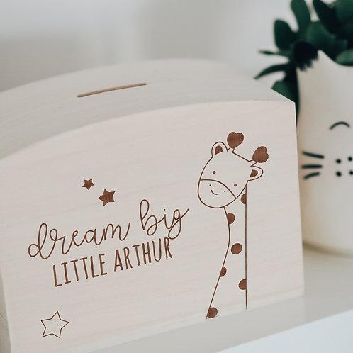'Dream Big Little One' Giraffe Wooden Savings Money Box / Piggy Bank