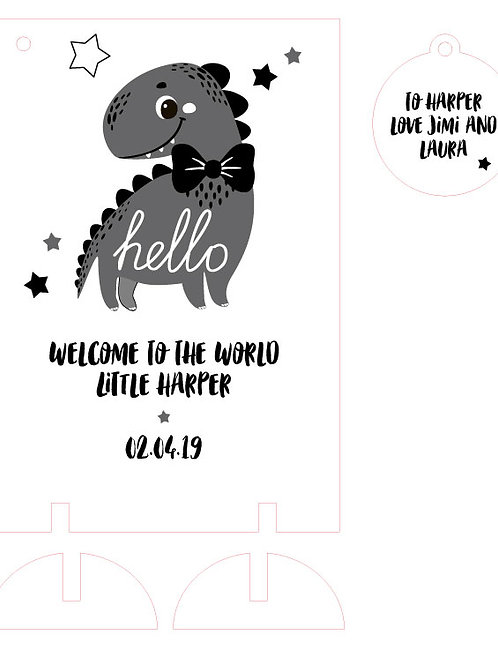 Welcome To The World New Baby Wooden Keepsake Card with Dinosaur