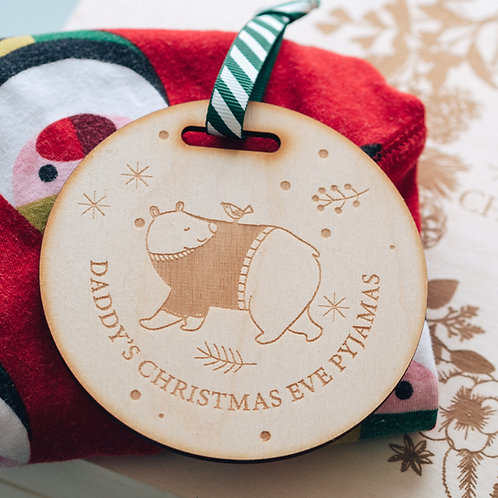 Engraved Wooden Tag For Christmas Eve Pyjamas Hanger Bear & Bird Design