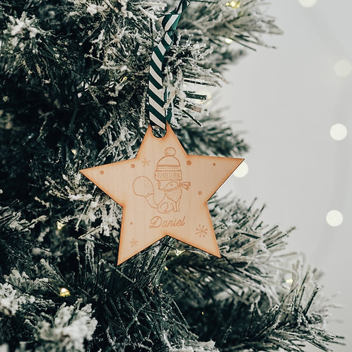 Star Shaped Personalised Christmas Tree Decoration with Fox