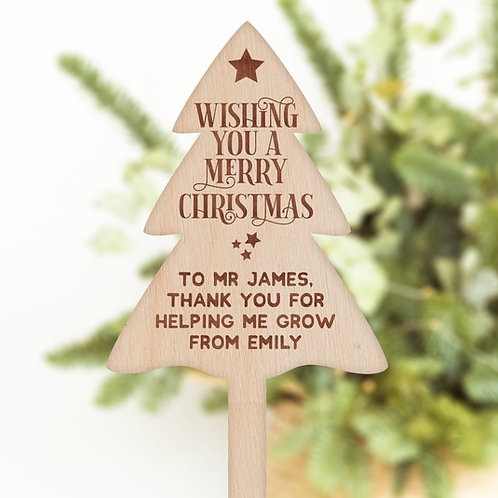 Christmas Tree Shaped Plant / Flower Pick - Unique Gift