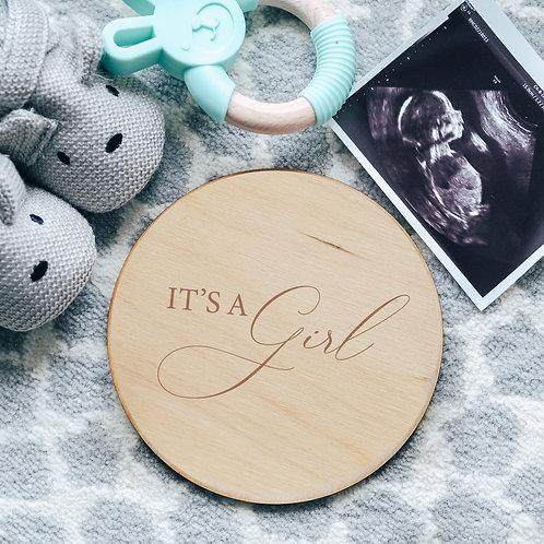 It's A Girl Baby Gender Announcement Wooden Plaque Card Sign Keepsake Photo Prop