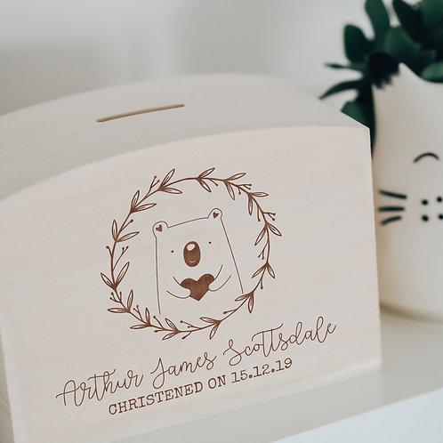 Wooden Bear Savings Money Box for New Baby or Christening