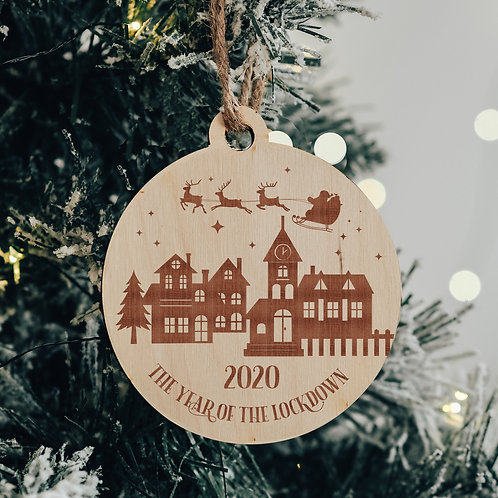 2020 The Year of the Lockdown Wooden Tree Ornament