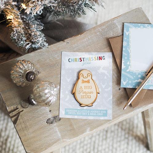 A Big Penguin Hug - Christmas Little Pocket Hug Token - Christmissing You