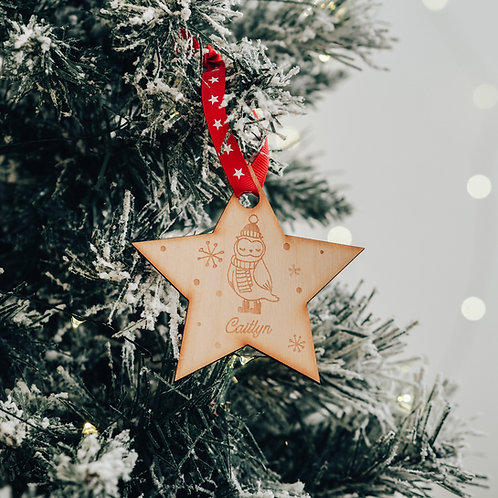 Star Shaped Personalised Christmas Tree Decoration with Owl