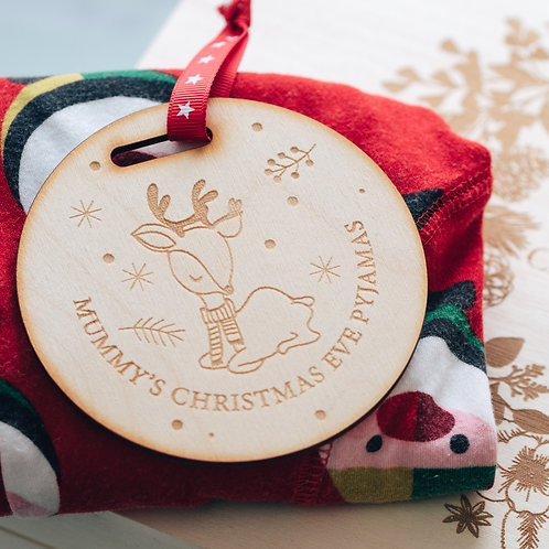 Beautifully Engraved Wooden Tag For Christmas Eve Pyjamas Hanger in Deer Design