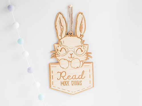 Nursery Book Shelf Hanging Plaques with Rabbit Design - Read More Books