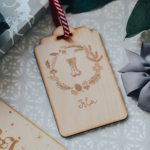 Tag Shaped Personalised Name and Initial Christmas Tree Decoration with Wreath