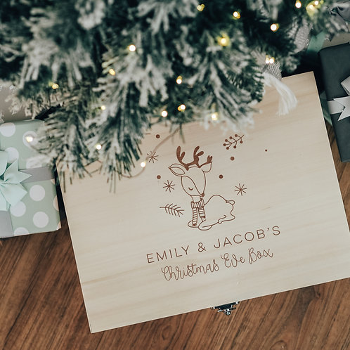 Christmas Eve Personalised Wooden Box with Deer Design