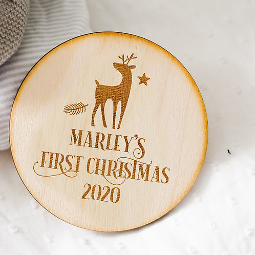 Personalised My First Christmas Wooden Plaque / Sign - First Christmas Keepsake
