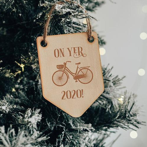 """On Yer Bike 2020"" Wooden Christmas Tree Decoration Keepsake"