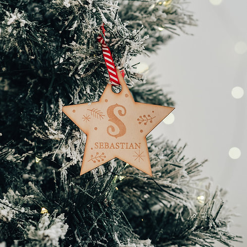 Star Shaped Personalised Name and Initial Christmas Tree Decoration