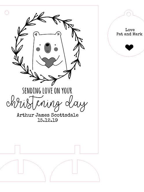 Christening / Baptism Day Wooden Gift Card Keepsake with Bear Design