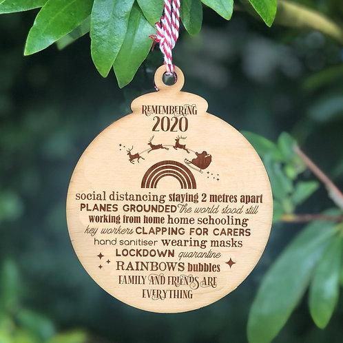 Remembering 2020 Wooden Christmas Tree Bauble Keepsake - Santa & Rainbow Design