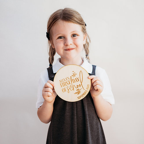 Floral Personalised First Day Of School Wooden Plaque/Sign - Photo Prop