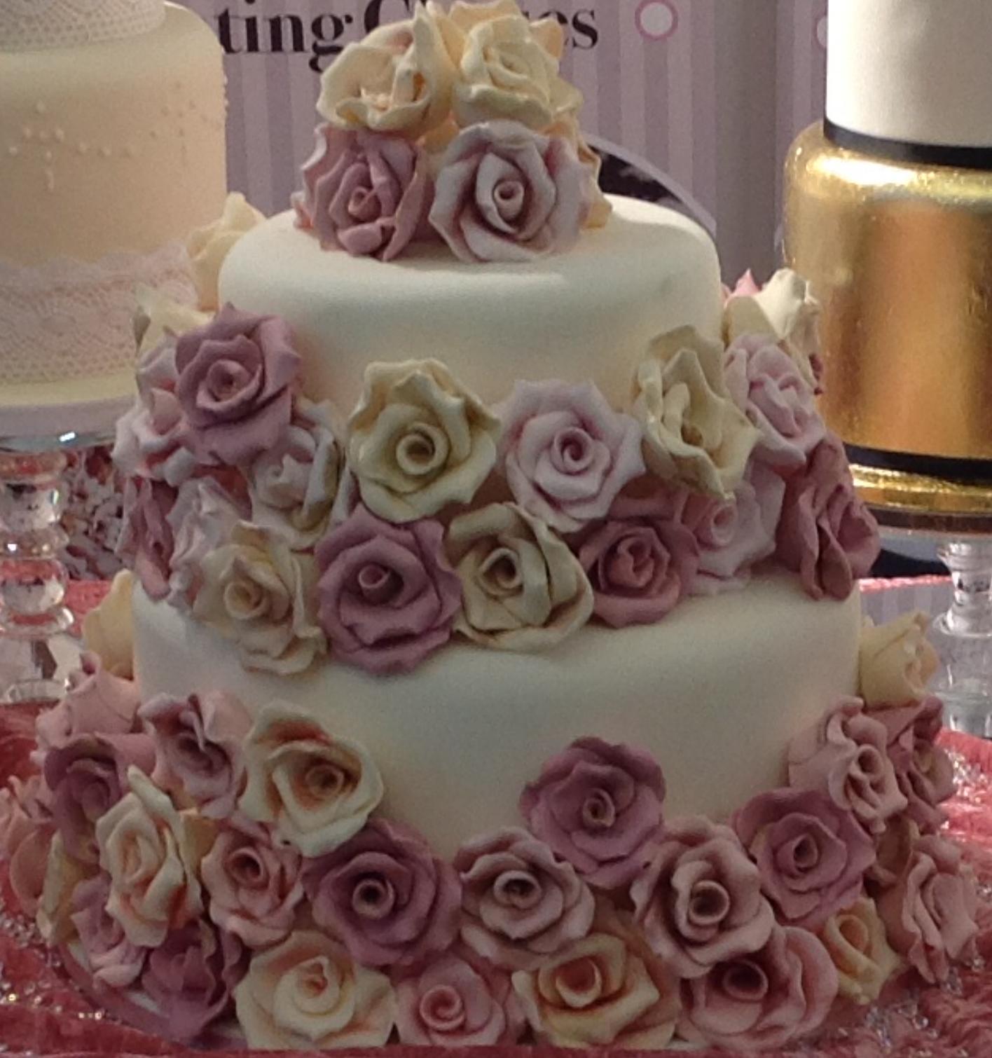 Fondant Rose Wedding Cake