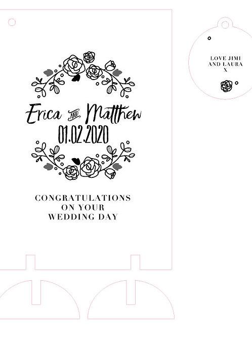 Floral Wedding / Engagement Wooden Card Keepsake