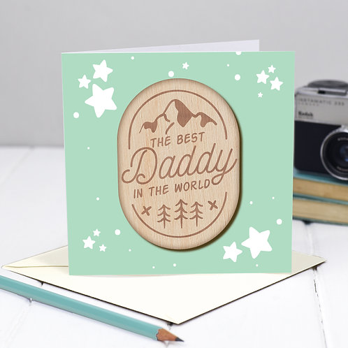 Father's Day / Birthday Card with Wooden Gift Token Keepsake for Daddy