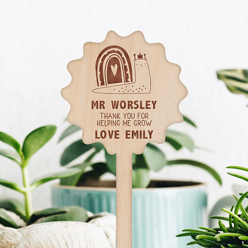 Personalised Plant / Flower Pick - Rainbow Slug Design - Unique Teacher Gift