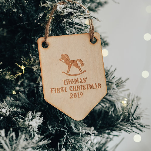 Baby's First Christmas Flag Shaped Tree Decoration with Rocking Horse