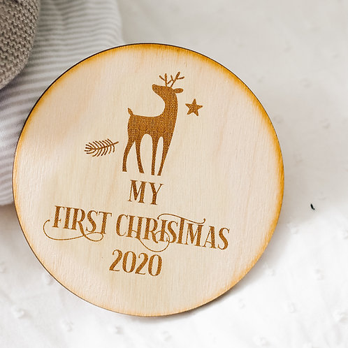 My First Christmas Wooden Sign Plaque With Deer and Stars Design - Photo Prop
