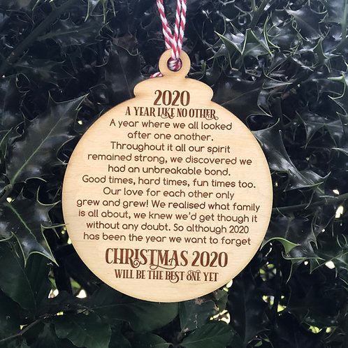 """Wooden Tree Bauble """"2020 A Year Like No Other"""" Christmas Poem"""