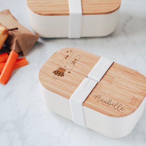 Little Girl Bunny Rabbit Engraved Eco Bamboo Lunch / Snack Box