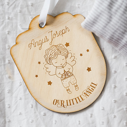 Personalised 'Our Little Angel' Baby Boy Wooden Memorial Hanging Wall Sign
