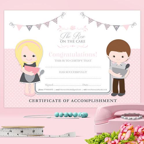 A4 Children's Cupcake Class Decorating Certificate