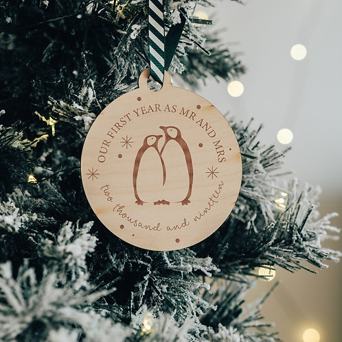 'Our First Year as Mr and Mrs' Wooden Christmas Decoration with Penguins