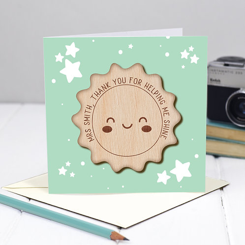Personalised Thank you Teacher Card - Thank You For Helping Me Shine