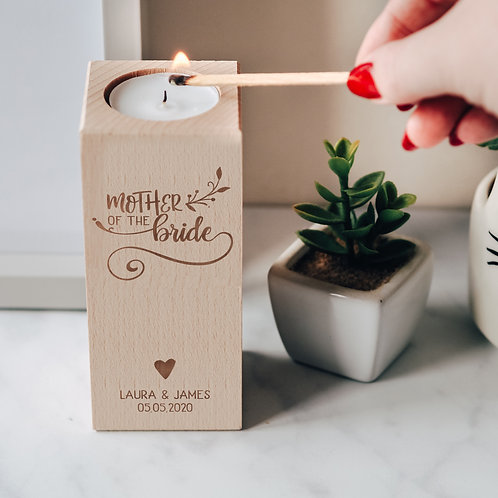 Mother of the Bride Wedding Thank You Wooden Tea Light Candle Holder