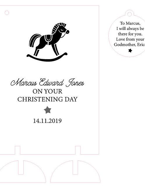 Wooden Christening / Baptism Card Keepsake with Rocking Horse