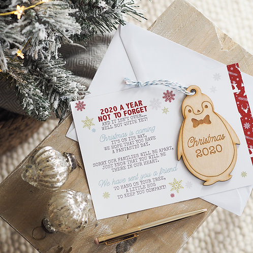Penguin Christmas Bauble Gift - Christmas 2020 with Card Poem