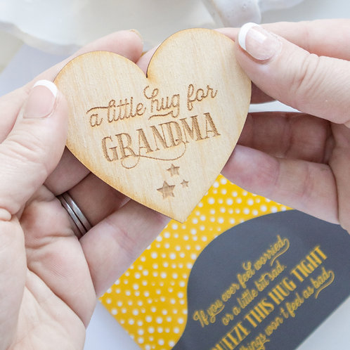 Little Pocket Hug For Grandma with Wooden Token & Card