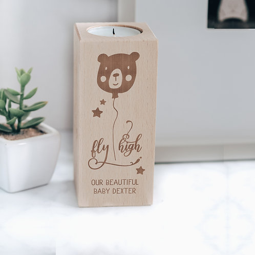 'Fly High' Engraved Wooden Baby Loss Tea Light Candle Holder with Teddy Balloon