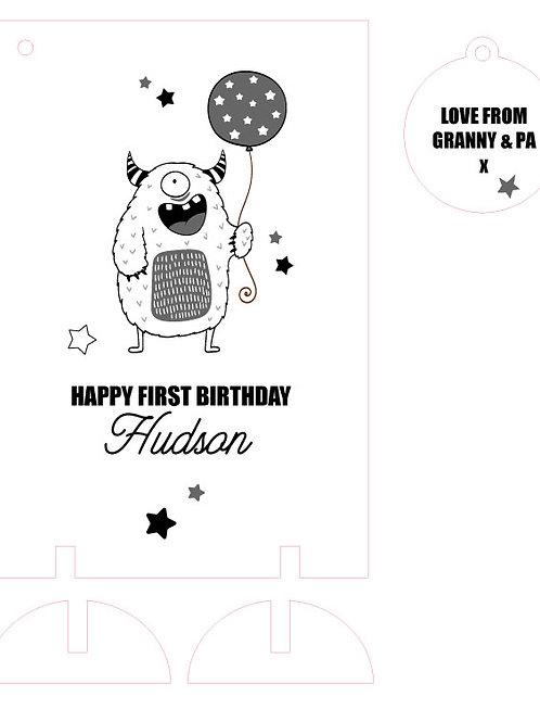 Little Monster Wooden Keepsake Birthday Card
