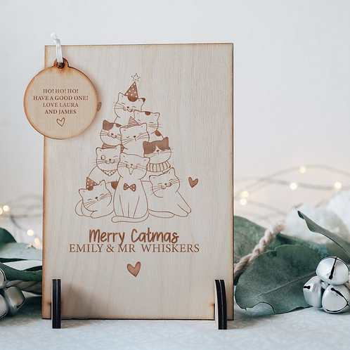 Wooden Keepsake Greeting Card for Cat Mummy / Daddy 'Merry Catmas'