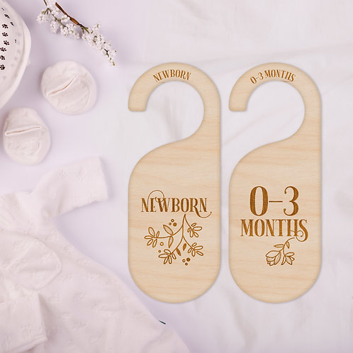 Wooden Wardrobe Clothes Dividers - Floral Design - Newborn to 2 Years