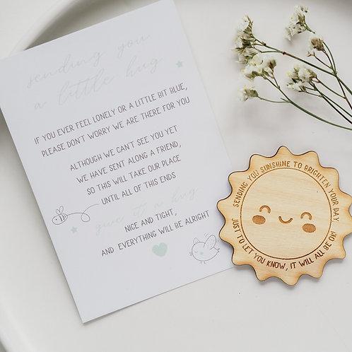 Little Pocket Hug Token - Sending You Sunshine Wooden Plaque Gift with Poem Card