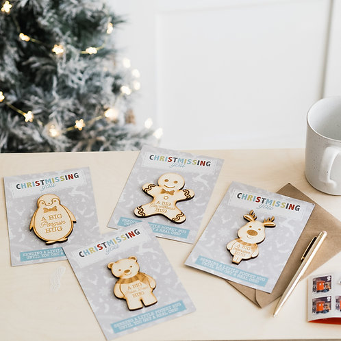 A Set Of 4 Christmas Pocket Hugs (Envelope Included)
