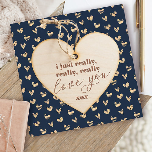 Valentine's Day / Birthday / Anniversary Card & Hanging Wooden Heart Plaque Gift