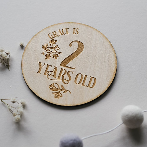 Floral Birthday Wooden Plaque Keepsake / Cake Smash Photo Prop - Any Age!