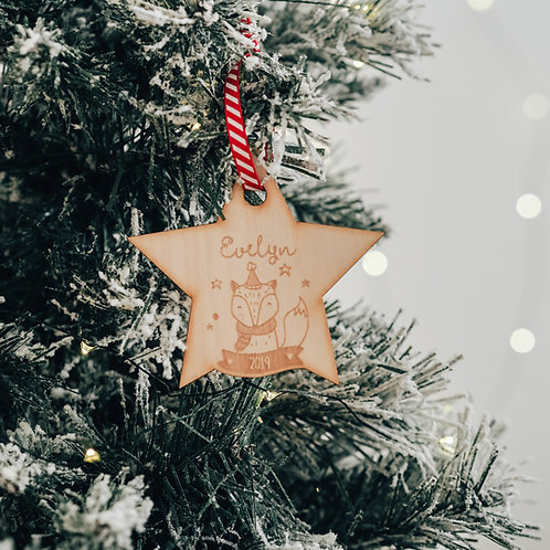 Personalised 2019 Star Shaped Christmas Tree Decoration with Fox