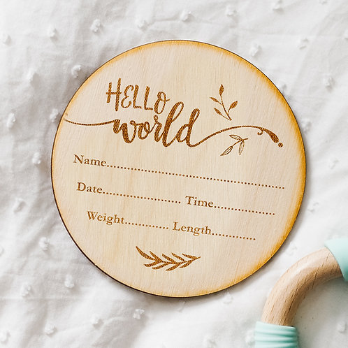 Hello World! New Baby Birth Announcement Floral Plaque - Write Your Own Details