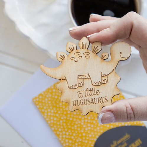 Dinosaur Little Pocket Hug Token and Greeting Card - A Little Hugosaurus