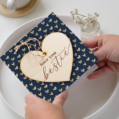 Galentine's Day / Birthday Card & Hanging Heart Plaque Gift - Love You Bestie