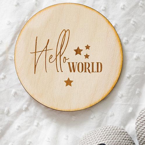 'Hello World' Star Design Newborn Baby Birth Announcement Plaque